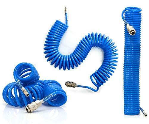 Tubo Aria Compressa Spirale 10 Metri Flessibile Per Compressore Raccordo Blu