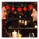 Relaxdays Catene di Luci a LED, 10 Cuori Luminosi a Batteria Illuminazione Romantica per Diverse Occasioni 170 cm, Rosse