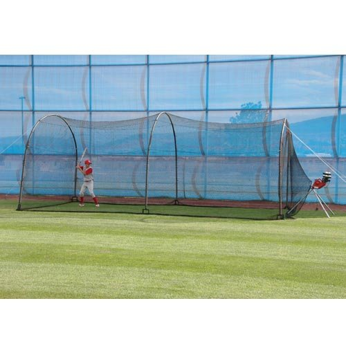 HEATER SPORTS Xtender 24' Baseball and Softball Batting Cage Net and Frame, With Built In Pitching Machine Harness For Safety (Machine NOT Included)
