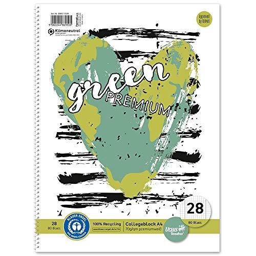 Staufen 608511028 - Staufen Green Collegeblock, DIN A4, Deckblatt mit 2 Motiven, Lineatur 28 (5 mm kariert mit Randlinien), 80 Blatt, 4-fach Lochung, premiumweißes 70g/m² Recyclingpapier, 1 Stück