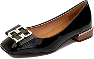 Women's Square-Toe Flats, Large Size 2Cm High Metal Buckle Mirror Closed-Toe Single Shoes Comfortable and Casual for Daily and Hiking Wear