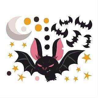 ZYL-YL Decals Halloween Sticker Creative Cartoon Moon Bat Children's Room Decoration PVC Graffiti Beautiful Waterproof Wal...