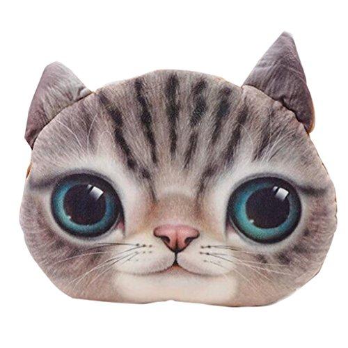 Yujiao Mao 3D Katzenkopf Kissenbezug Süß Sofa-Kissen Plüsch Cushion Cover Kissenhülle Puppe
