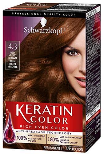 Schwarzkopf Keratin Color Permanent Hair Color Cream, 4.3 Red Velvet Brown