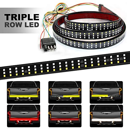 HYB LED Tailgate Light Bar Triple 60 Inches Truck Tailgate Strip Light with 4-Way Flat Connector Wire - Red Brake Running Amber Turn Signal Strobe White Reverse Lights for Pickup Trucks Trailer