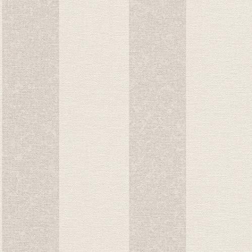 rasch Tapete 449600 aus der Kollektion Florentine II – Vliestapete in Beige mit cremefarbenen Streifen – 10,05m x 53cm (L x B)