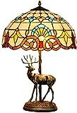 WLXJDJ Tiffany Lights Lámpara De Mesa De Cristal De Colores Tiffany De Pulgadas Elk Creativo Barroco Bar Estar Mesa Vitral Alce Dormitorio Lámpara Sala Base De Noche 16 Pulgadas