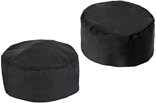 Chef Hat, 2 Pcs SOUREPOSE Black Chef Beanie - Adjustable Velcro Chef Headwear One Size Fits Most