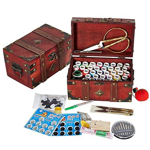 MKNZONE Caja de Costura de Madera - 116 Piezas Accesorios de Costura para Hilos de Coser, Tijeras, Agujas, Alfileres, Botones, Cinta Métrica etc