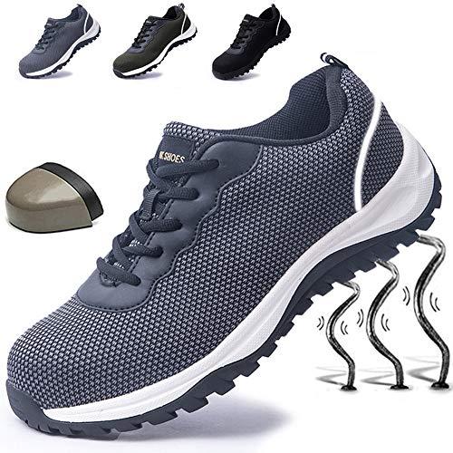 Sicherheitsschuhe Herren Arbeitssicherheit Stahlkappenschuhe rutschfeste, Sicherheitsschuhe Schutzschuhe pannensichere Schuhe Turnschuhe Atmungsaktiver Leichtbau, Grey 45