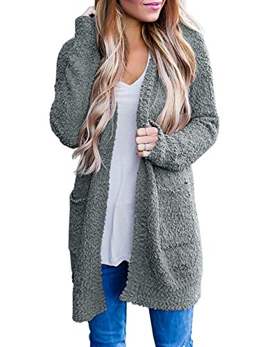 ZESICA Women's Casual Long Sleeve Open Front Soft Chunky Knit Sweater Cardigan Outerwear with Pockets Grey