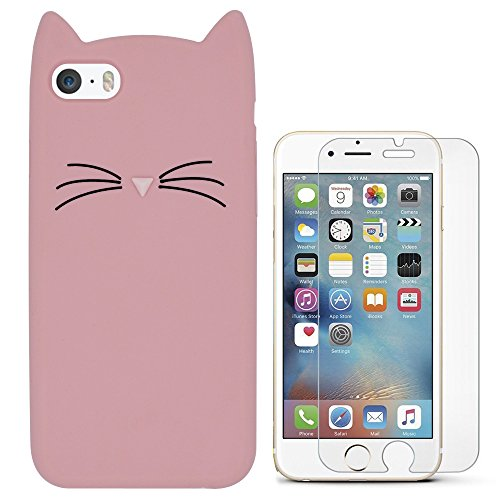 Hcheg 3D Silicone Protective Case Cover for Apple iPhone 5/5S/SE Cover Panda Design Pink Case Cover + 1X Screen Protector