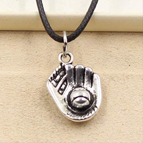 ZGYFJCH Co.,ltd Collar Colgante de Color Plateado Tibetano Collar de Guante de béisbol Gargantilla Charm Cordón de Cuero Negro Precio de fábrica Joyería Hecha a Mano