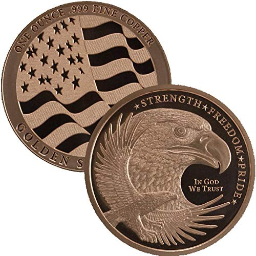 1 oz .999 Pure Copper Round/Challenge Coin (Eagle Strength-Freedom-Pride)