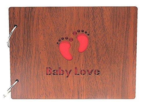 Smiling Art Fotoalbum zum selbst gestalten/basteln, Fotoalbum zum einkleben, DIY Scrapbook, Fotobuch, Tagebuch, Reisebuch, Vintage Style mit einem Deckblatt aus MDF Holz, (Baby Love)