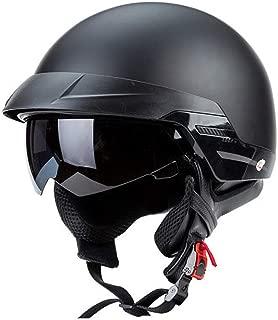 Lxlong Harley Motorcycle Helmet DOT Certified, Retro Half Helmet with Large Retractable Goggles, Matte Black 57-62CM,M