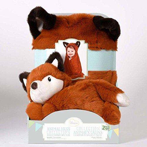 Little Miracles Animal Hugs Collection Ensemble de 100% polyester Fox Couverture à capuche et peluche pour enfant
