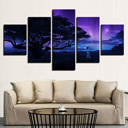JFSJDF Canvas HD Prints Poster Wall Art 5 Pieces Black Panther Paintings Modular Tree