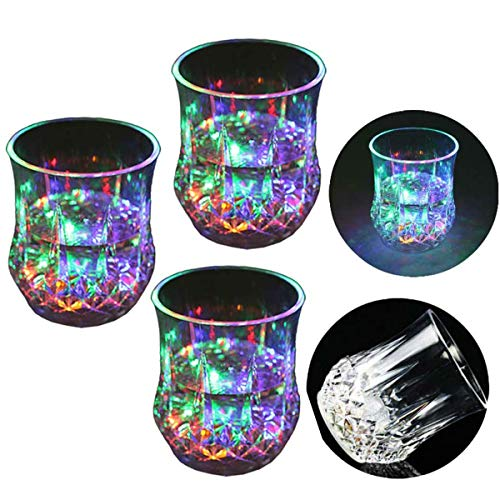Zeerkeer Cambiamento Cromatico Bicchiere Bicchieri con LED 5 LED Luci Acrilico Plexiglass Non Fragile Impermeabile Marble Texture Materiale 3pcs