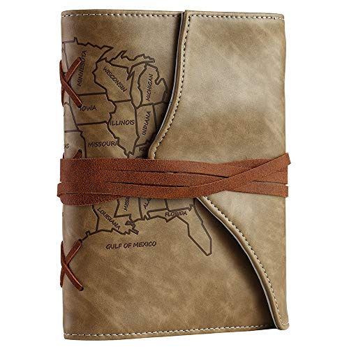 Unique Writing Journal Gifts-Personalized Vegan Leather Bound Writing Notebook- Map Embossed Refillable B6 Lined Diary-Beautiful Daily Use Gifts for Men & Women/Vegetarians/Teen Girls & Boys