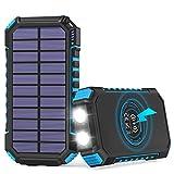 Hiluckey Cargador Solar Inalámbrico 26800mAh, USB C Powerbank Solar Portátil con 4 Salidas Batería Externa para iPhone 11, Samsung Galaxy, Huawei y Más