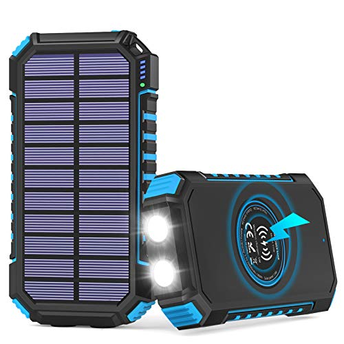 Hiluckey Cargador Solar Inalámbrico 26800mAh, USB C Powerbank Solar Portátil con 4 Salidas Batería Externa para iPhone 11 Pro Max/XS/XR, iPad Pro/ Air, Samsung Galaxy S9/ S8/ Note 8, LG, Huawei y Más