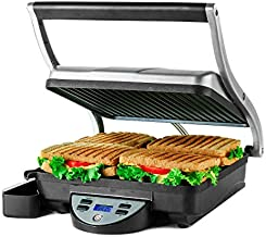Ovente Electric Countertop Panini Press Grill with Double Nonstick Flat Cast Iron Cooking Plates, 4 Slice Indoor Stainless Steel Sandwich Maker Bread Toaster with Removable Drip Tray, Silver GP1000BR