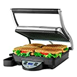 Ovente 4 Slice Electric Indoor Panini Press Grill with Non-Stick Double Flat Cast Iron Cooking...