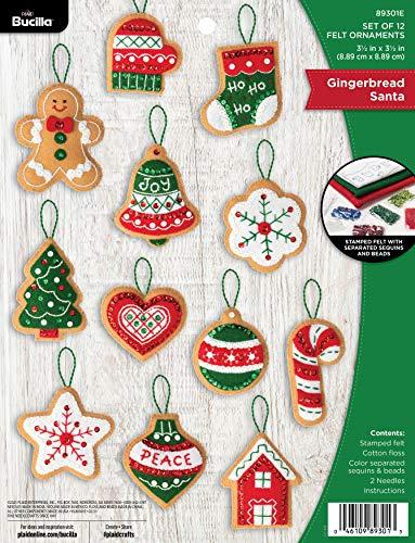 Bucilla, Gingerbread Santa Christmas Set of 12 Felt Applique Ornament Making Kit, Perfect Supplies for DIY Needlepoint Arts and Crafts, 89301E