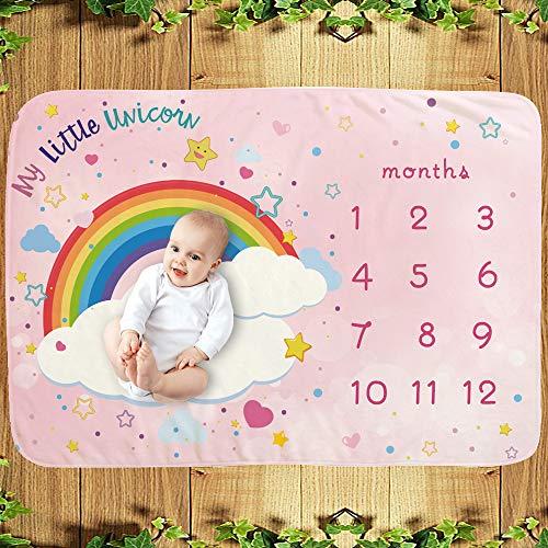 Manta para recién nacidos con diseño europeo – La manta para bebé como fondo fotográfico con diseño arcoíris y motivos infantiles, regalo para niños y niñas, 70 x 100 cm