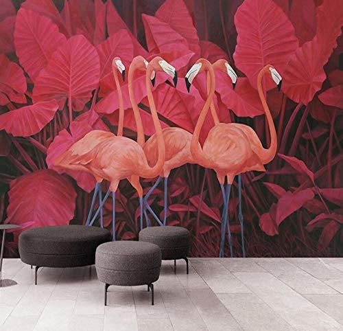 Europese rode tropische plant bladeren Flamingo achtergrond muurschildering met de hand beschilderd botanische bloem behang behang 200cm*140cm