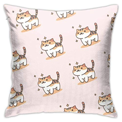 Throw Pillow Cover Cushion Cover Pillow Cases Decorative Linen Cute Kitty for Home Bed Decor Pillowcase,45x45CM