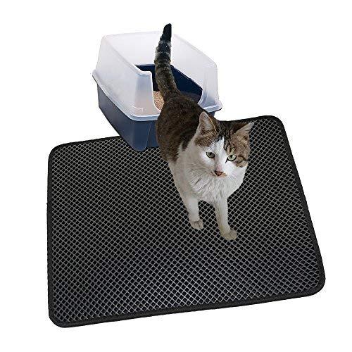 MJSTAR Cat Litter Mat, Double Layer Litter Box, Durble EVA Trapping Pad, Nonslip Waterproof Base Layer pet mat Small