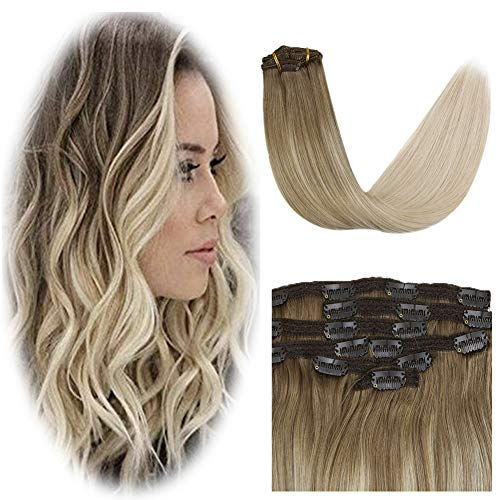 [10% aus]YoungSee Balayage Clip Extensions Remy Glatt Doppelt Tressen Haarverlangerung Clips 7pcs 120g 100% Echt Haar Clip in Haarverlangerung Ombre Dunkelbraun Gemischt mit Karamellblond 40cm