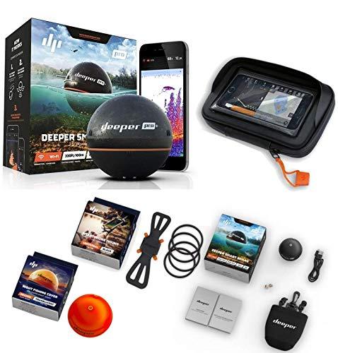 Deeper Smart Sonar Pro + Plus Set WiFi + GPS + Smartphone Halterung + Night Fishing Cover + Case XL