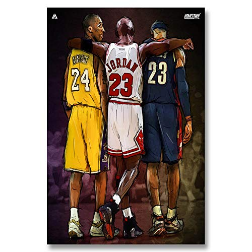 Unknow Breeze Michael Jordan Kobe Bryant Lebron James Basketball NBA Star Poster Art Silk Light Canvas, 50x70cm, No Frame