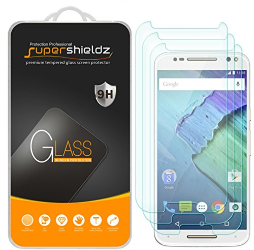 (3 Pack) Supershieldz Designed for Motorola (Moto X Pure Edition) and Moto X Style Tempered Glass Screen Protector Anti Scratch, Bubble Free