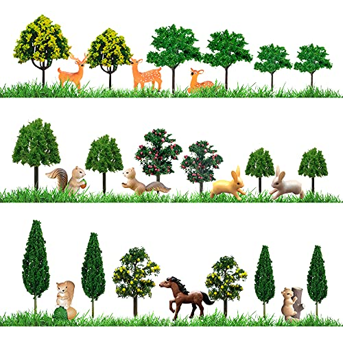 26pcs Model Trees Animals Figurines Toys Kit Miniature Trees Woodland Creatures Figurines Realistic Plastic Wild Forest Animals for Cake Decoration Cupcake Topper Birthday Party Favor Table Decoration