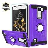 Atump LG K8 V Case, LG K8V (Verizon) Case with HD Screen Protector, LG K8 V Cellphone 360 Degree Rotating Ring Holder Kickstand for LG K8 V (2016)(VS500) Purple