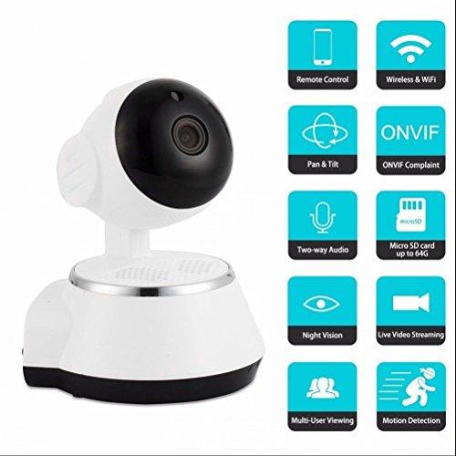 Babyphones Caméra IP 720p Webcams,DVR Système de Sécurité Numérique,SVision Jour / Nuit,Microphone intégré et fente pour carte micro SD,Two-Way Audio,Moniteur Vidéo,Alerte d'information pour Accès à distance par Sma