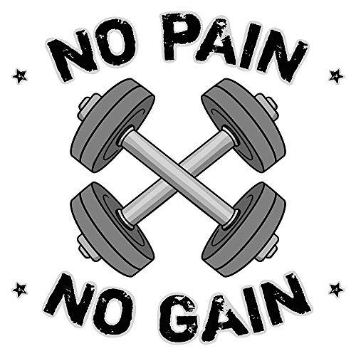 dekodino® Wandtattoo Fitness Hantel - No pain no gain Wandsticker Deko
