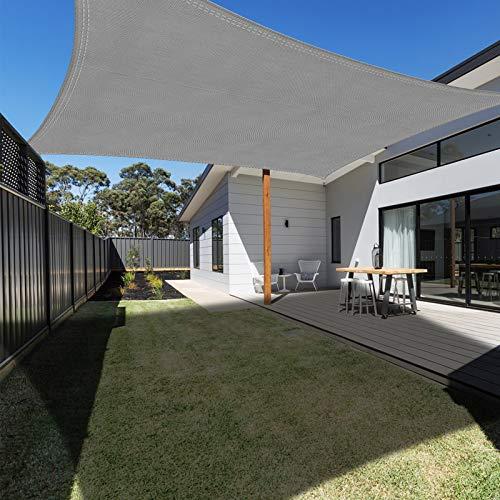 Ankuka Sonnensegel Sonnenschutz inkl Befestigungsseile, Rechteckiges PES Polyester Sonnensegel wasserabweisend imprägniert für den Außenbereich, Garten, 98% UV-Block, 3 x 4 m Anthrazit