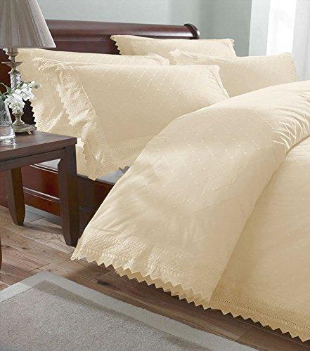 Portfolio Balmoral Quilt Duvet Cover Bed Set Broderie Anglaise Design, Cream, Single