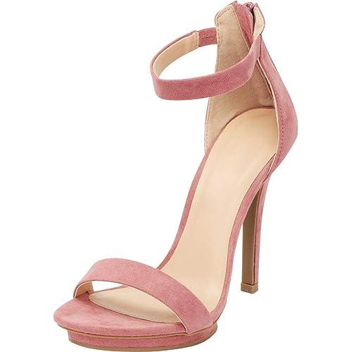 acc5b3e7672 Cambridge Select Women s Open Toe Single Band Stretch Elastic Ankle Strap  Stiletto High Heel Sandal