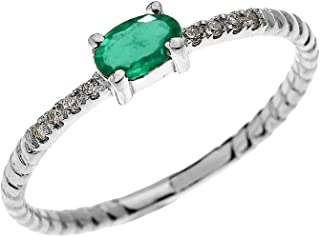 Dainty 14k White Gold Diamond and Solitaire Oval Emerald Rope Design Stackable/Proposal Ring
