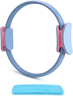 Trcode Pilates Ring Pro- Unbreakable 14.7 Inches Fitness Magic Circle Body Toning Pilates Circle Ring with Sport Hair Band for Toning Legs, ABS and Neck Warme, Full-Body Workout, and Neck Warmer Post