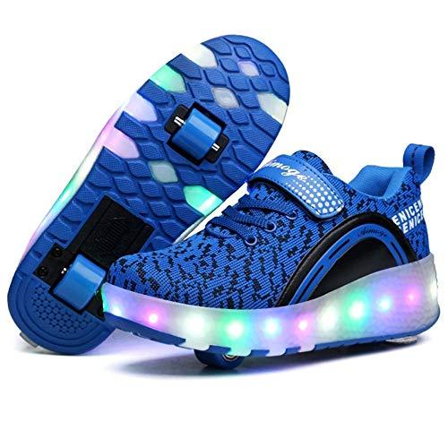 LHZHG Zapatos con Ruedas Niños y niñas Zapatillas Luminosas LED Cuatro Estaciones Patines universales cómodos Zapatos Casuales de Cuero Patines (Color : Double 2, Size : 38 EU)