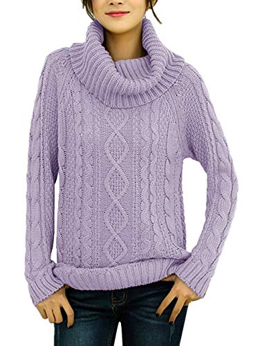 v28 Women's Korean Design Turtle Cowl Neck Ribbed Cable Knit Long Sweater Jumper (Small, Lavender)