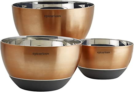Epicurious 3-Piece Stainless Steel Copper Mixing Bowl Set with Silicone Base