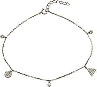 Princess Kylie Rhodium Plated Sterling Silver Multiple Star Charms Anklet